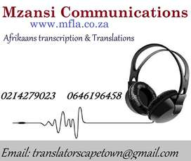 Afrikaans Transcription and Translation services Durban.