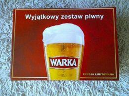 Wyjątkowy zestaw piwny Warka - kufel , otwieracz + podstawka