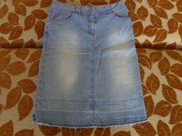 Spódnica jeans niebieska różowa NEXT 10 38 M frędzle przetarcia różowa