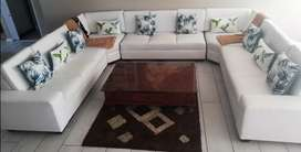 White Dura leather U-shaped lounge suite for sale