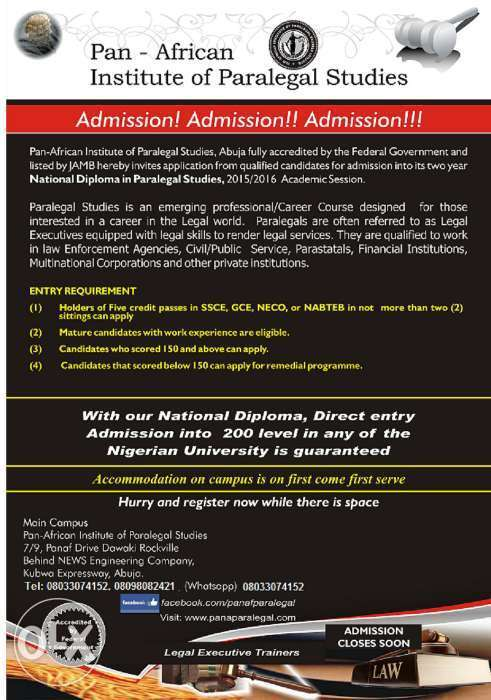 Apply for 2019 ADMISSION at PANAF Institute Of Paralegal Studies Abuja 0