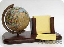 Globus + przybornik na kartki - biurkowy gadżet / drewno