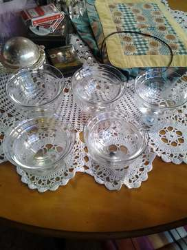 5 beautiful antique glass desert/starter bowls with glass top for sale