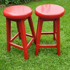 Solid wood stools x 2