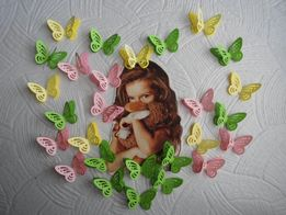 """Вырубки """"Бабочка"""" из цветной бумаги одинарные или 3D"""