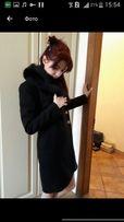 Черное итальянское кашемировое пальто новое с песцом
