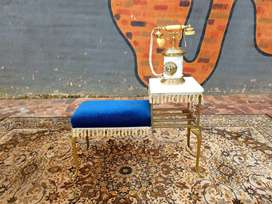 A STUNNING BRASS & MARBLE TELEPHONE TABLE