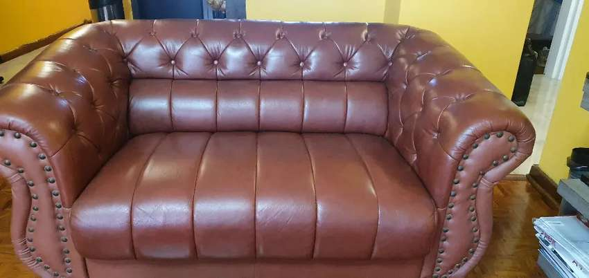 Three piece full leather sofas 0