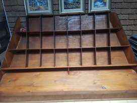 Wooden Book Shelf with lots of dividers.