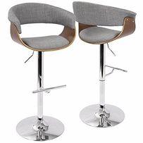 Высокий барный стул Virginia (Вирджиния) орех+экокожа/ткань, H-60-80см