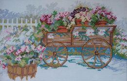 Картина вышита крестиком «Садовая тележка с цветами»!