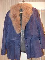 Тёплая замшевая женская куртка. 48-50 р. Воротник из натурального меха