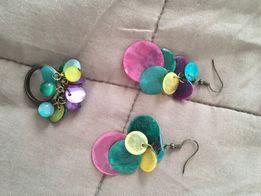 Kolorowe kolczyki i pierścionek komplet