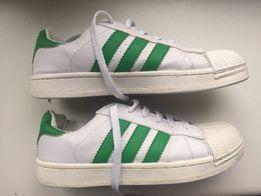 Buty Adidas j Superstar Białe zielone Paski okazja tanio! Adidasy
