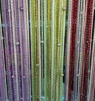 Шторы нити дождь однотонный и радуга с ажурными шарами !Новинка!