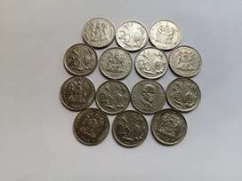 20 cent coins dated from 1977 to 1989