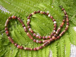 naszyjnik męski i bransoletka jaspis agat drewno egzotyczne