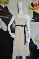 Elegancka zwiewna sukienka kremowo czarna lato ślub wesele