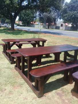 Picnic tables and chairs