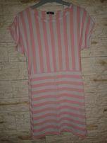 Sukienka mini tunika w paski neonowa M/L