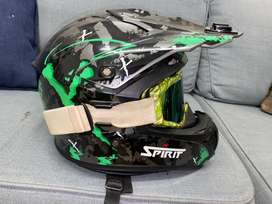 Green and black SPIRIT offroad bike helmet with goggles