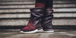 Фирменные Кожаные сапоги-кроссовки Nike WMNS Roshe Two Hi Flyknit