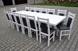 stol 244/314x105 +14 krzesel bialy polysk okazja hit!
