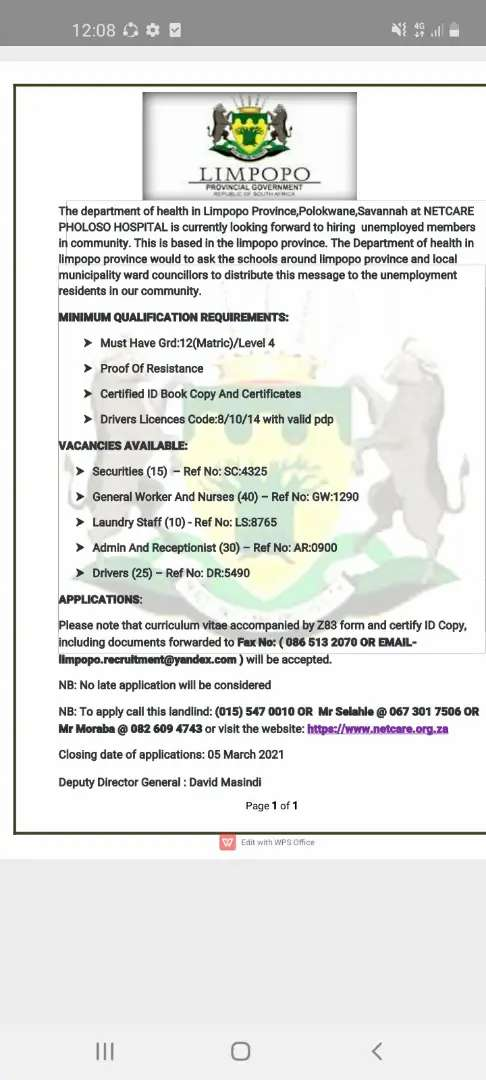 NURSES AND DRIVERS REQUIRED ASAP