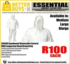 30GSM Spunbound Disposable Coverall – WHO Suggested Hood Drawstrings