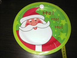Меламиновые Новогодние тарелочки с Сантой