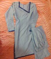 Sylwester piękna sukienka tunika spodnie komplet wrzosowy pastelowy S