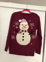 Sweter zimowy bałwanek XS