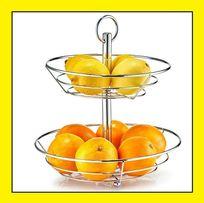 Patera Zeller na owoce kosz do serwowania dwupoziomowa chrom 29x29 cm!