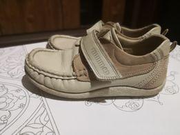 Бежевые мокасины, туфли натуральная кожа минимен р30 по стельке 19 см