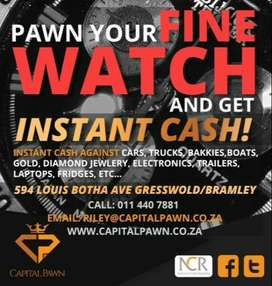 PAWN YOUR LUXURY WATCHES FOR CASH / JEWELLERY / GOLD /DAIMOND WE PAY