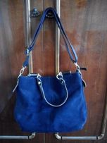 Синяя женская сумка (искусственная кожа и замша)