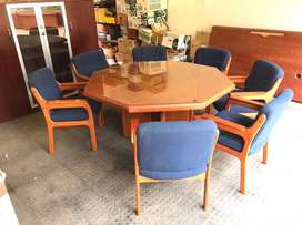 Boardroom or dining table with 8 solid wood upholstered chairs