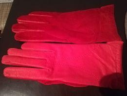 Rękawiczki damskie skórzane zamszowe