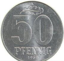 Монета 50 пфеннигов (pfennig) 1968 года