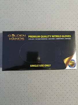 Golden Hands Surgical Gloves Nitrile(Latex Free) 100's Black Med/Large