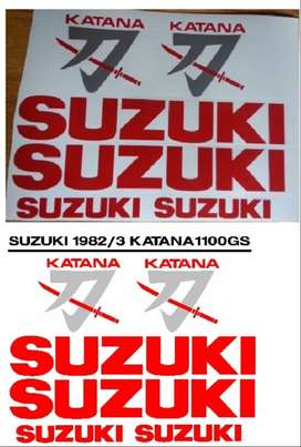 Graphics decals stickers kit for a 1982 Suzuki Katana 1100 GS.
