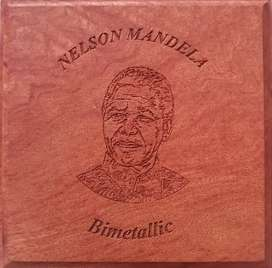 Nelson Mandela Proof Medal in box Outer gold ring removed