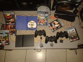 2 Ps2 consols.With 3 controls, all cables,eye toy and afew games