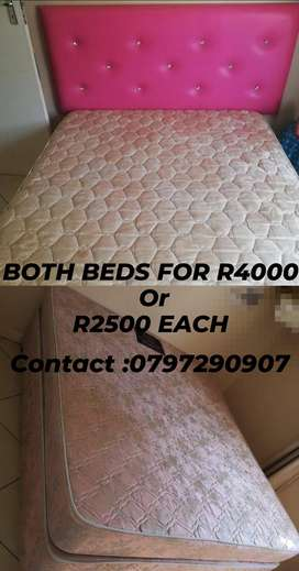 Hotelier queen bed and sealy double bed INCLUDING HEADBOARD.