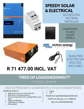 VICTRON 5KW INVERTER WITH 5.1KW REVOV LITHIUM ION BATTERIES