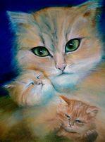 """Картина на подарок """"Мама-кошка"""""""