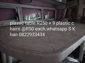 WITE PLASTIC TABLE R250 AND 9X  PLASTIC CHAIRS R50 EACH