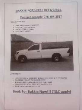 IN WITBANK- BAKKIE FOR HIRE/DELIVERIES0️⃣7️⃣6️⃣1️⃣0️⃣4️⃣3️⃣5️⃣8️⃣7️⃣
