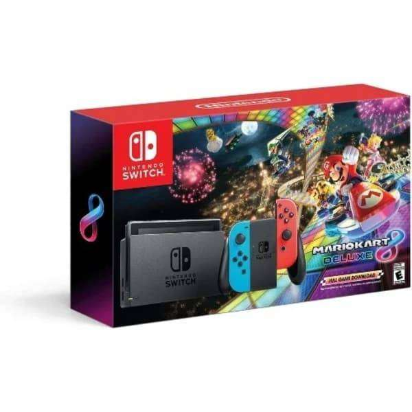 BRAND NEW NINTENDO SWITCH WITH NEON BLUE AND RED CONTROLLERS 0