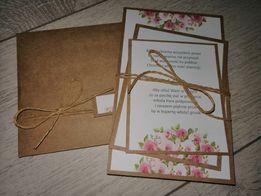 Zaproszenia ślubne kwiatowe. rustykalne. eko